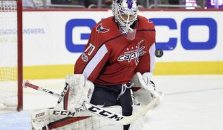 Washington Capitals goalie Braden Holtby stops the puck during the second period of an NHL hockey game against the New York Islanders, Thursday, Nov. 2, 2017, in Washington. (AP Photo/Nick Wass)