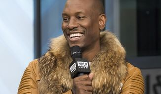 """FILE - In this April 6, 2017, file photo, Tyrese Gibson participates in the BUILD Speaker Series to discuss upcoming """"The Fate of the Furious"""" film at AOL Studios in New York. Tyrese said on Instagram Nov. 1, 2017, he was doing OK hours after posting an emotional video to Facebook amid a court battle with his ex-wife. (Photo by Charles Sykes/Invision/AP, File)"""