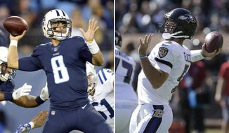 FILE - At left, in an Oct. 16, 2017, file photo, Tennessee Titans quarterback Marcus Mariota (8) passes against the Indianapolis Colts in the second half of an NFL football game, in Nashville, Tenn. At right, in an Oct. 8, 2017, file photo, Baltimore Ravens quarterback Joe Flacco (5) passes against the Oakland Raiders during the first half of an NFL football game in Oakland, Calif. The Titans know it's time to start proving exactly what they can be this season if they are to end their playoff drought with the calendar flipping to November. It won't be easy against the Ravens who want some momentum of their own in a month they simply dominate. (AP Photo/File)