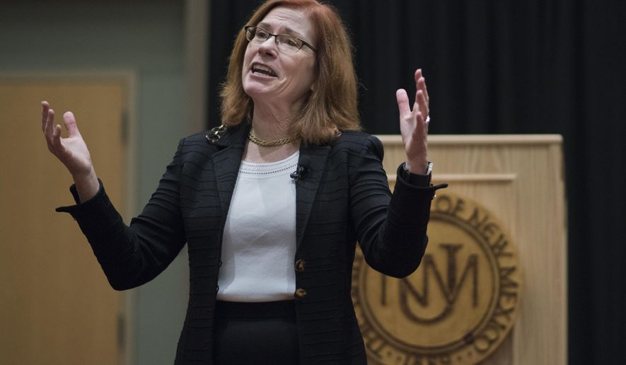 In this Oct. 23, 2017 photo, Garnett Stokes, the provost and executive vice chancellor for academic affairs at the University of Missouri, speaks at the University of New Mexico in Albuquerque, N.M. The University of New Mexico Board of Regents made history Thursday, Nov. 2 as it named Stokes the first woman president to lead the state's flagship school. (Roberto E. Rosales/The Albuquerque Journal via AP)