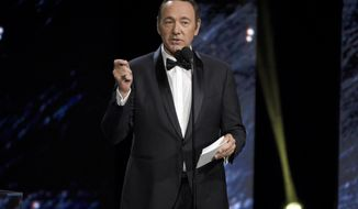 FILE - In this Oct. 27, 2017 photo, Kevin Spacey presents the award for excellence in television at the BAFTA Los Angeles Britannia Awards at the Beverly Hilton Hotel in Beverly Hills, Calif. British media reported Friday, Nov. 3, that London police are investigating Spacey over an alleged 2008 assault. Police declined to name Spacey as the subject of the investigation, but confirmed they are looking into a 2008 incident in Lambeth that several British media outlets say involved Spacey, who has been accused of sexual harassment by several men in recent days.  (Photo by Chris Pizzello/Invision/AP, File)