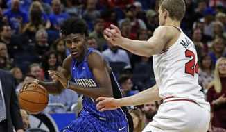 Orlando Magic's Jonathan Isaac, left, moves the ball past Chicago Bulls' Lauri Markkanen during the second half of an NBA basketball game, Friday, Nov. 3, 2017, in Orlando, Fla. Chicago won 105-83. (AP Photo/John Raoux)