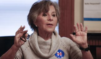 In this Oct. 29, 2016, file photo, then-Sen. Barbara Boxer, D-Calif., speaks to volunteers at a home serving as a canvassing site to train and organize supporters of Democratic presidential candidate Hillary Clinton in Cincinnati. (AP Photo/John Minchillo, File)