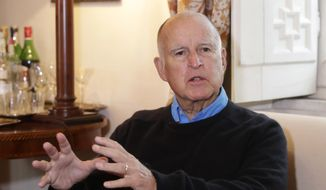 California Gov. Jerry Brown talks during an interview with The Associated Press in Rome, Friday, Nov. 3, 2017. (AP Photo/Alessandra Tarantino) ** FILE **