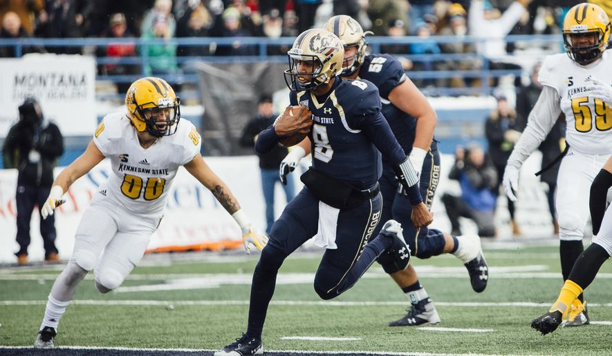 Montana State quarterback Chris Murray runs the ball in for a touchdown against Kennesaw State during the first half of an NCAA college football game at Bobcat Stadium in Bozeman, Mont., Saturday, Nov. 4, 2017. (Adrian Sanchez-Gonzalez/Montana State University via AP)