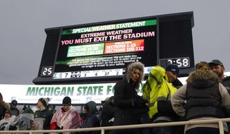 The Michigan State-Penn State NCAA college football game is delayed by weather during the first half, Saturday, Nov. 4, 2017, in East Lansing, Mich. (AP Photo/Al Goldis)