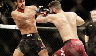 Ricardo Ramos, left, of Brazil, fights Aiemann Zahabi, of Canada, during a bantamweight mixed martial arts bout at UFC 217, Saturday, Nov. 4, 2017, in New York. Ramos won the fight. (AP Photo/Frank Franklin II)
