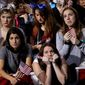 Supporters watch the election results on a larger television monitor during Democratic presidential nominee Hillary Clinton's election night rally in the Jacob Javits Center glass enclosed lobby in New York, Tuesday, Nov. 8, 2016. (AP Photo/Matt Rourke)