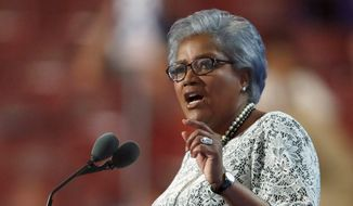 This July 26, 2016, file photo shows former head of the Democratic National Committee Donna Brazile speaking during the second day of the Democratic National Convention in Philadelphia. (AP Photo/Paul Sancya, file)