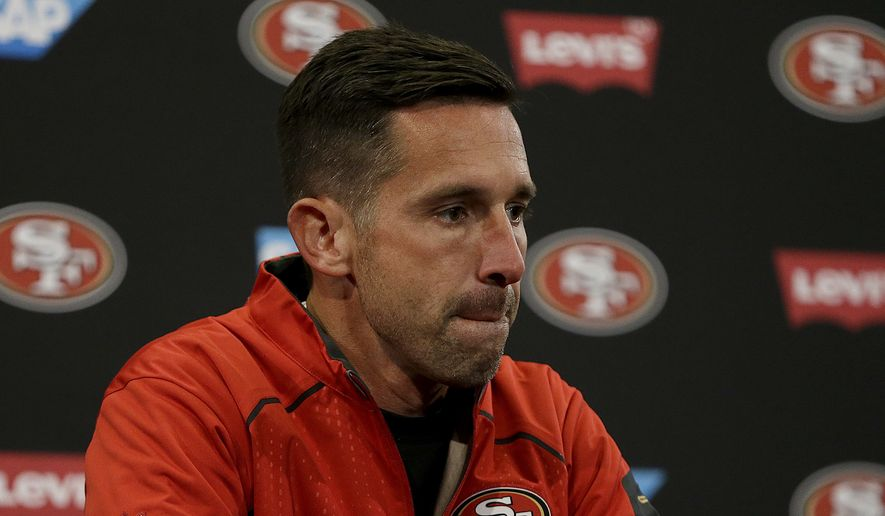San Francisco 49ers head coach Kyle Shanahan speaks at news conference after an NFL football game against the Arizona Cardinals in Santa Clara, Calif., Sunday, Nov. 5, 2017. (AP Photo/Ben Margot)