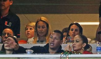 Former MLB baseball player Alex Rodriguez and entertainer Jennifer Lopez watch the second half of an NCAA College football game between Miami and Virginia Tech, Saturday, Nov. 4, 2017 in Miami Gardens, Fla. Miami defeated Virginia Tech 28-10. (AP Photo/Wilfredo Lee)