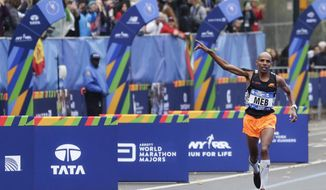 Meb Keflezighi of the United States approaches the finish line of the New York City Marathon in New York, Sunday, Nov. 5, 2017. (AP Photo/Seth Wenig)