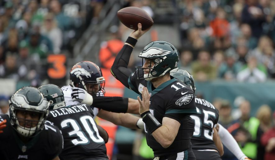 Philadelphia Eagles' Carson Wentz passes during the first half of an NFL football game against the Denver Broncos, Sunday, Nov. 5, 2017, in Philadelphia. (AP Photo/Matt Rourke) **FILE**