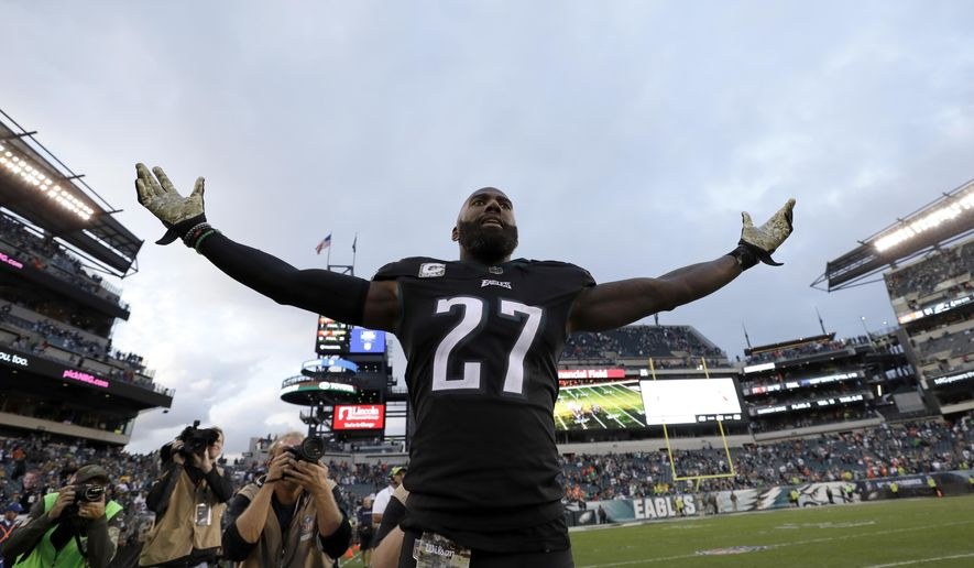 Philadelphia Eagles' Malcolm Jenkins reacts after an NFL football game against the Denver Broncos, Sunday, Nov. 5, 2017, in Philadelphia. (AP Photo/Michael Perez)