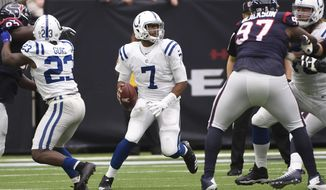 Indianapolis Colts quarterback Jacoby Brissett (7) scrambles against the Houston Texans during the half of an NFL football game, Sunday, Nov. 5, 2017, in Houston. (AP Photo/Eric Christian Smith)