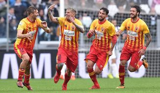 Benevento's Amato Ciciretti, second from left, celebrates after scoring a goal during the Italian Serie A soccer match between Juventus and Benevento at the Allianz Stadium in Turin, Italy, Sunday, Nov. 5 2017. (Alessandro Di Marco/ANSA via AP)