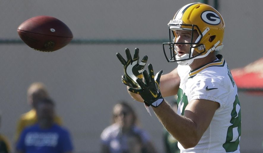 FILE - In this July 27, 2017 file photo, Green Bay Packers' Jordy Nelson catches a pass during NFL football training camp in Green Bay, Wis.  (AP Photo/Morry Gash, File) **FILE**