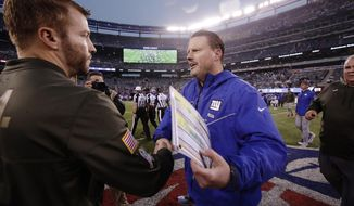Los Angeles Rams head coach Sean McVay, left, shakes hands with New York Giants head coach Ben McAdoo after an NFL football game Sunday, Nov. 5, 2017, in East Rutherford, N.J. (AP Photo/Julio Cortez)