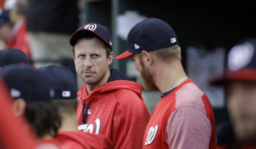 Washington Nationals pitchers Max Scherzer and Stephen Strasburg were named on Monday as finalists for the National League Cy Young Award. (Associated Press) **FILE**