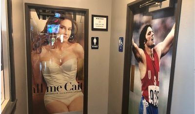 Caitlyn Jenner and Bruce Jenner signs adorn the bathroom doors at Dodie's Place Cajun Bar & Grill in Allen, Texas.(Image: Twitter, Dom DiFurio, Dallas Morning News digital editor) ** FILE **