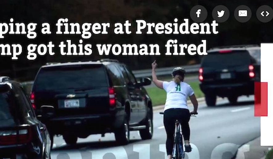 Former government contractor Juli Briskman was fired by Akima LLC after a picture of her giving the middle finger to President Trump's motorcade on Oct. 28 went viral on social media. (Image: HuffPost video screenshot)