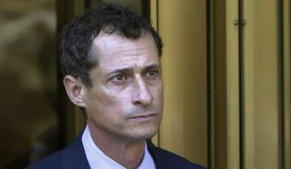 Former Congressman Anthony Weiner leaves federal court following his sentencing in New York, Sept. 25, 2017. Weiner is set to report to the Federal Medical Center, Devens, Mass., Monday, Nov. 6, 2017, to serve his prison sentence in a sexting case that rocked the presidential race. (AP Photo/Mark Lennihan) ** FILE **