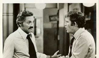 """Captain Barney Miller (Hal Linden) and Detective Stan """"Wojo"""" Wojciehowicz (Max Gail) in a scene from """"Barney Miller.""""  (Pinterest)"""