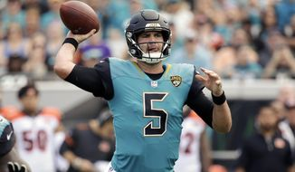 Jacksonville Jaguars quarterback Blake Bortles throws a pass against the Cincinnati Bengals during the first half of an NFL football game, Sunday, Nov. 5, 2017, in Jacksonville, Fla. (AP Photo/John Raoux)