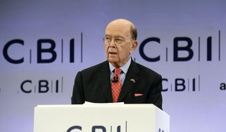 U.S. Commerce Secretary Wilbur Ross speaks at the annual CBI conference in London, Monday Nov. 6, 2017. Newly leaked documents show that Commerce Secretary Wilbur Ross, the Trump administration's point man on trade and manufacturing policy, has a stake in a company that does business with a gas producer partly owned by the son-in-law of Russian President Vladimir Putin. (John Stillwell/PA via AP)
