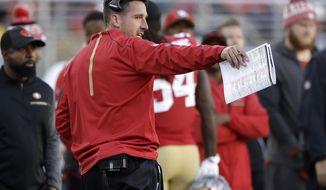 San Francisco 49ers head coach Kyle Shanahan gestures during the second half of an NFL football game between the 49ers and the Arizona Cardinals in Santa Clara, Calif., Sunday, Nov. 5, 2017. (AP Photo/Marcio Jose Sanchez)