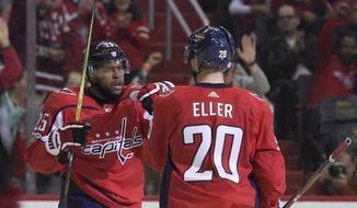 Washington Capitals right wing Devante Smith-Pelly (25) celebrates his goal with center Lars Eller (20), of Denmark, during the first period of an NHL hockey game against the Arizona Coyotes, Monday, Nov. 6, 2017, in Washington. (AP Photo/Nick Wass)