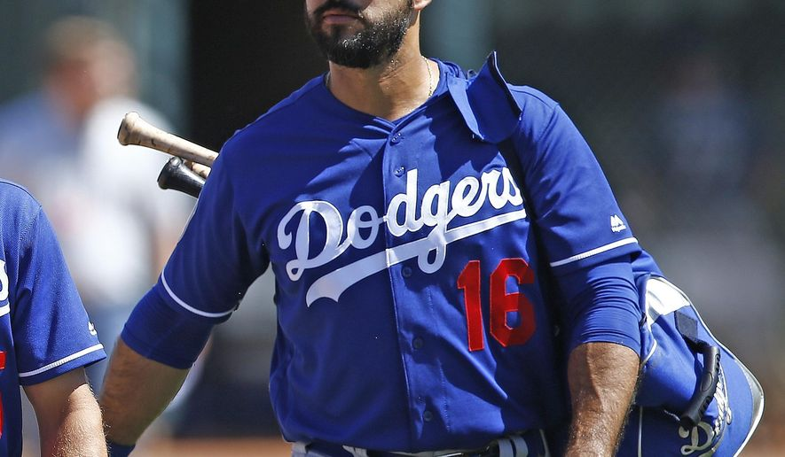 FILE - In this March 18, 2017, file photo, Los Angeles Dodgers right fielder Andre Ethier (16) walk to the dugout prior to a spring training baseball game against the Chicago White Sox, in Glendale, Ariz. The Dodgers have declined outfielder Andre Ethier's $17.5 million club option, making the longest-tenured player on the team a free agent. He was in the final year of an $85 million, five-year deal. The Dodgers will pay a $2.5 million buyout. (AP Photo/Ross D. Franklin, File)