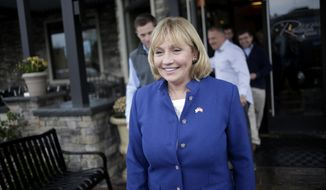 Lt. Governor of New Jersey Kim Guadagno leaves a diner after making a campaign stop the day before the election in Randolph, N.J., Monday, Nov. 6, 2017.  Guadagno is the Republican candidate for the governor of New Jersey in tomorrow's election. (AP Photo/Seth Wenig)