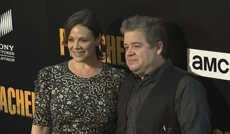 "FILE - In this June 20, 2017, file image taken from video, Meredith Salenger, left, and Patton Oswalt arrive at the premiere of AMC's ""The Preacher,"" in Los Angeles. Salenger and Oswalt married Nov. 4, 2017 in Los Angeles. (AP Photo/Jeff Turner, File)"