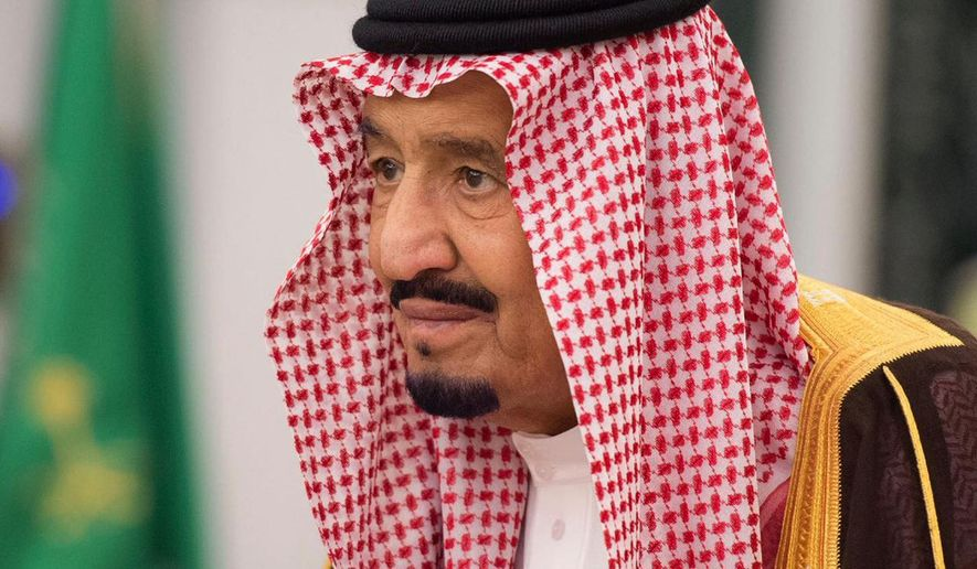 King Salman attends a swearing in ceremony in Riyadh, Saudi Arabia, Monday, Nov. 6, 2017. The king has sworn in new officials to take over from a powerful prince and former minister believed to be detained in a large-scale sweep that has shocked the country and upended longstanding traditions within the ruling family. (Saudi Press Agency, via AP)