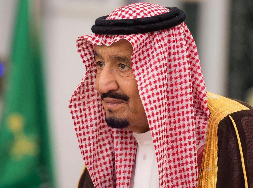 King Salman attends a swearing-in ceremony in Riyadh, Saudi Arabia, Monday, Nov. 6, 2017. (Saudi Press Agency, via AP) ** FILE **