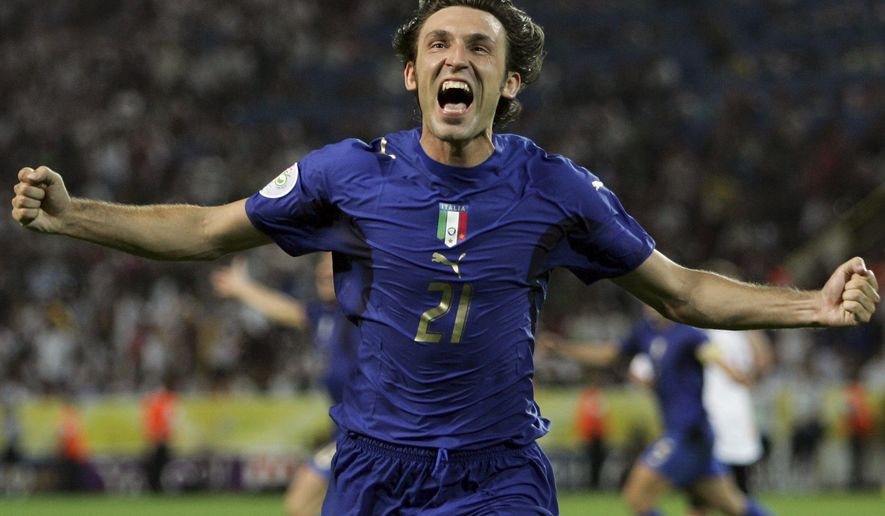 FILE - In this Tuesday, July 4, 2006 filer, Italy's Andrea Pirlo celebrates his side's first goal by teammate Fabio Grosso in the extra time of the semifinal World Cup soccer match between Germany and Italy in Dortmund, Germany. Tributes poured in for Andrea Pirlo after Italy's midfield maestro retired. The 38-year-old passing wizard played his final match on Sunday when New York City FC was beaten 4-3 by the Columbus Crew in the MLS Eastern Conference finals. Pirlo came on in the 90th minute of the match and was greeted with a showering of affection from fans at Yankee Stadium. While Pirlo played his final seasons in the United States, he made his name by helping AC Milan and Juventus win a combined six Serie A titles, two Champions Leagues with Milan and the above all the 2006 World Cup with Italy. (AP Photo/Andrew Medichini, File)