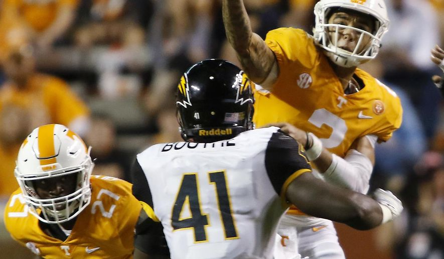Tennessee's Jarrett Guarantano throws a pass against Southern Mississippi in an NCAA college football game in Knoxville, Tenn., Saturday, Nov. 4, 2017. (Daryl Sullivan/The Daily Times via AP)