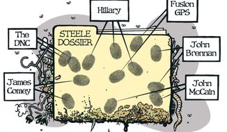 Illustration on the Steele Dossier by Alexander Hunter/The Washington Times