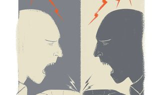 Illustration on continuing bigotry by Linas Garsys/The Washington Times