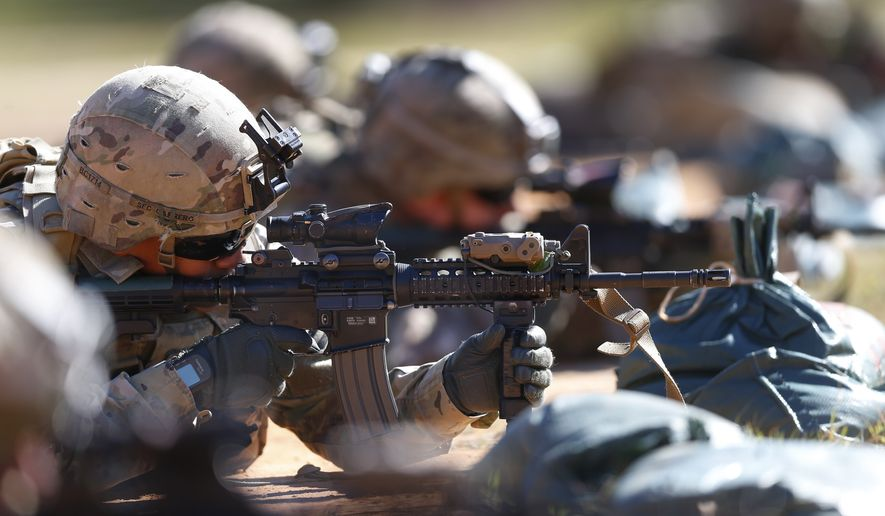 U.S. Army soldiers hone their long-distance marksmanship skills as they train at Ft. Benning in Columbus, Georgia, Oct. 17, 2017. (AP Photo/John Bazemore) ** FILE **
