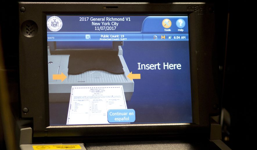 In this file photo, the screen of an electronic voting machine is displayed, Tuesday, Nov. 7, 2017, in the Staten Island borough of New York. (AP Photo/Mark Lennihan) **FILE**