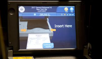The screen of an electronic voting machine is displayed, Tuesday, Nov. 7, 2017, in the Staten Island borough of New York. (AP Photo/Mark Lennihan)