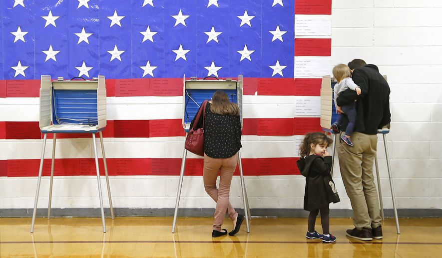 Tabitha Thal, age 4, and Matilda Thal, age 1, wait while their parents Brent and Amanda Thal vote at Stonehouse Elementary School in Williamsburg, Va., Tuesday, Nov. 7, 2017.  (Alexa Welch Edlund/Richmond Times-Dispatch via AP)