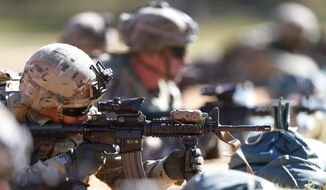 In this Oct. 17, 2017, file photo, Army soldiers hone their long-distance marksmanship skills as they train at Fort Benning in Columbus, Ga. (AP Photo/John Bazemore)