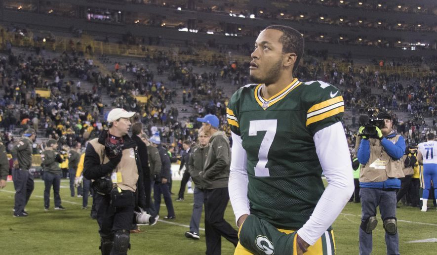 Green Bay Packers quarterback Brett Hundley walks off the field after a 30-17 loss to the Detroit Lions in an NFL football game in Green Bay, Wisc., Monday night, Nov. 6, 2017. (John Ehlke/West Bend Daily News via AP)