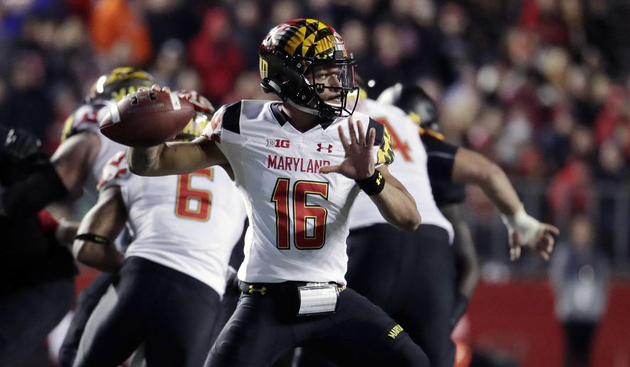 FILE - In this Nov. 4, 2017, file photo, Maryland quarterback Ryan Brand throws a pass against Rutgers during the second half of an NCAA college football game, in Piscataway, N.J. The quarterback carousel at Maryland keeps spinning, with sophomore Ryan Brand in line to be the fourth different starter Saturday against No. 21 Michigan if injured Max Bortenschlager can't go. (AP Photo/Julio Cortez, File)