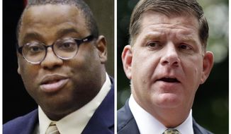 FILE - This combination of file photos shows Boston City Councilman Tito Jackson, left, during a Boston council meeting on Jan. 13, 2016, and Boston Mayor Marty Walsh, right, during a news conference on July 11, 2017. Jackson is challenging Walsh for the mayor's seat in the Nov. 7, 2017, election. (AP Photos, File)