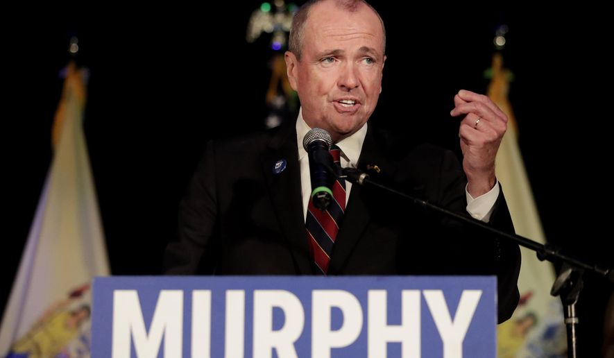 New Jersey Democratic gubernatorial nominee Phil Murphy speaks to supporters during his election night victory party at the Asbury Park Convention Hall, Tuesday, Nov. 7, 2017, in Asbury Park, N.J. (AP Photo/Julio Cortez)