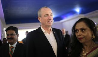 Democratic gubernatorial candidate Phil Murphy arrives to a campaign event in Edison, N.J., Monday, Nov. 6, 2017. The two major party candidates seeking to become New Jersey's next governor were campaigning Monday, making their final pushes for support ahead of Tuesday's election. (AP Photo/Seth Wenig)
